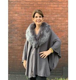 Fur Wrap in Dark Grey