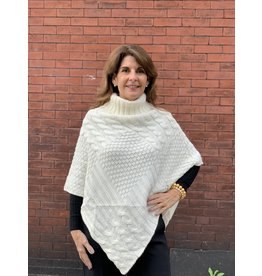 Cable Knit Poncho in Ivory