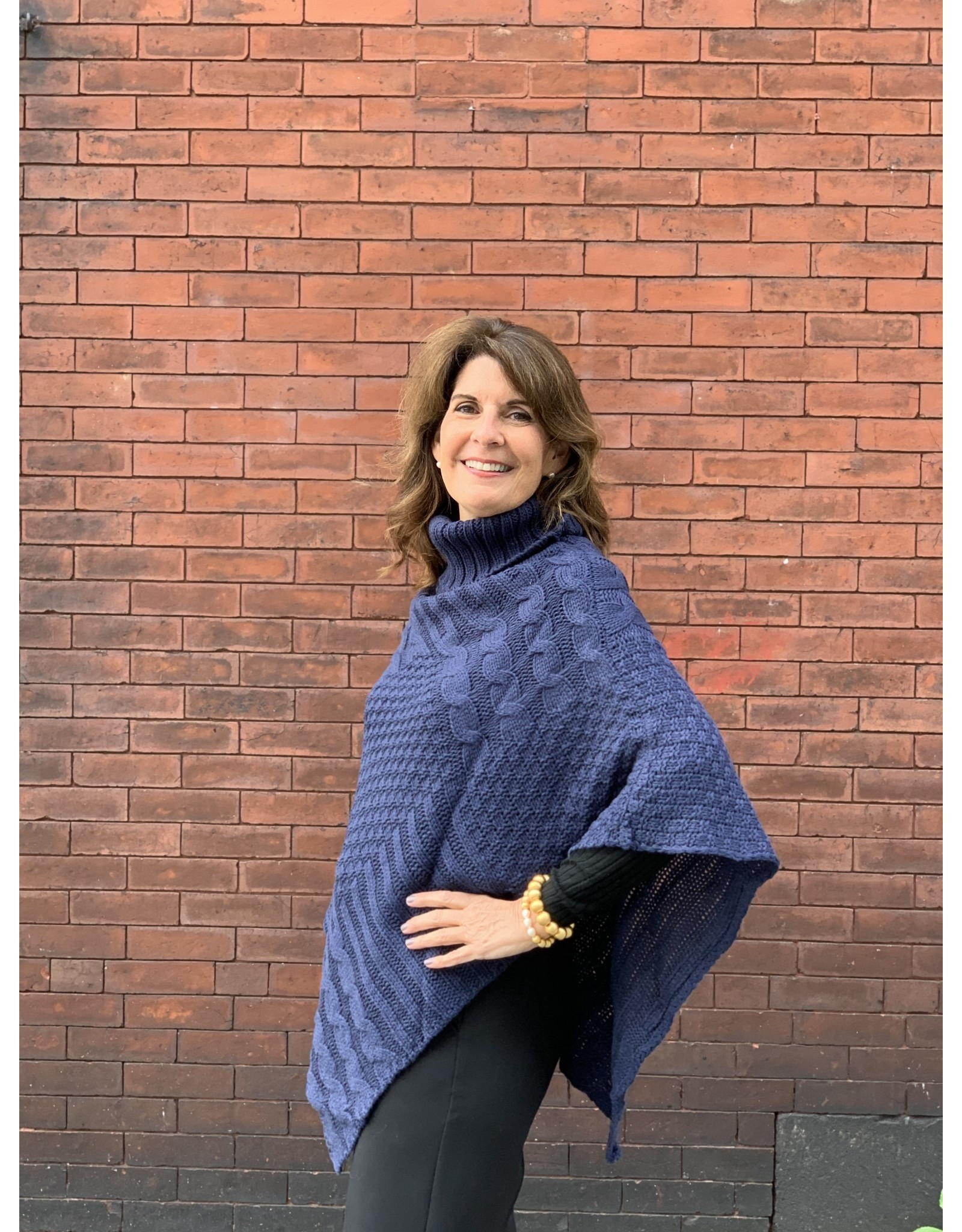 Cable Knit Poncho in Navy