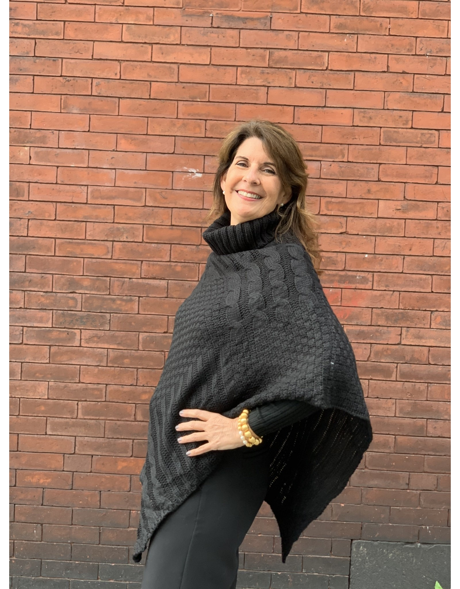 Cable Knit Poncho in Black