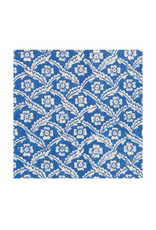 Caspari Domino Papers Floral Cross in Blue Cocktail Napkin