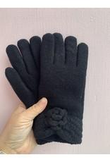 Flower Pom Pom Gloves in Black