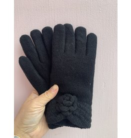 Flower Pom Pom Gloves in Black