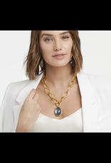 Julie Vos Fleur de Lis  Statement Necklace in Iridescent Slate Blue  by Julie Vos