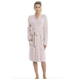 Barefoot Dreams CozyChic Lite Heathered Ribbed Robe in Faded Rose