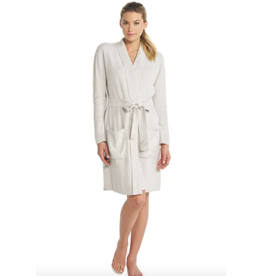 Barefoot Dreams CozyChic Lite Heathered Ribbed Robe in Pearl