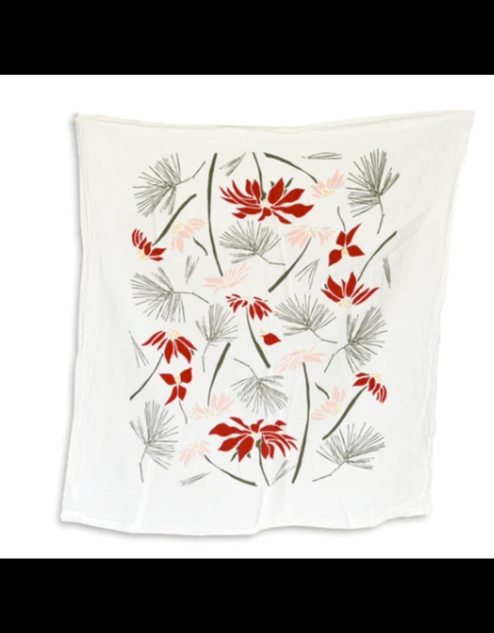 June & December Poinsettia & Pine Kitchen Towel
