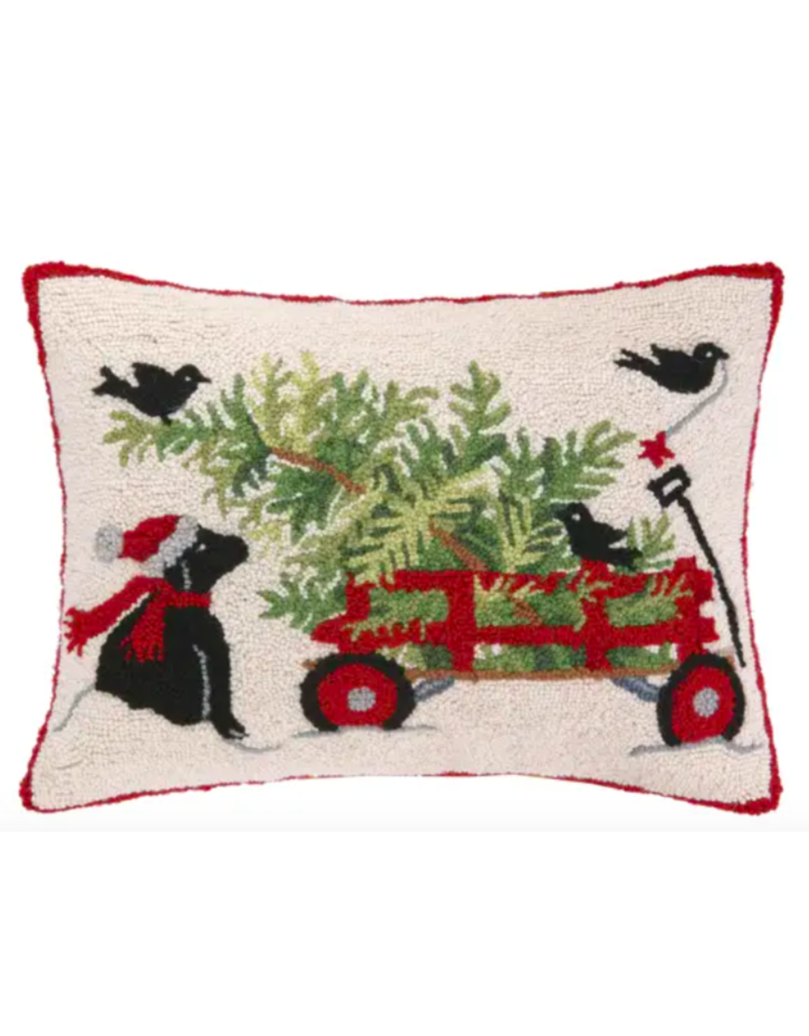 Peking Handicraft Dog and Wagon Christmas Pillow