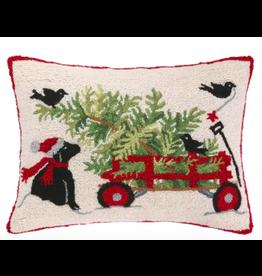 Peking Handicraft Dog and Wagon Christmas Pillow