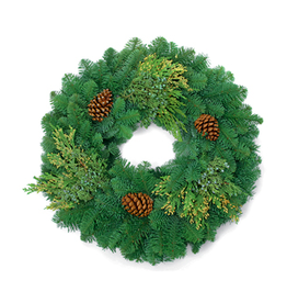 "Mixed Evergreen Wreath 24"""