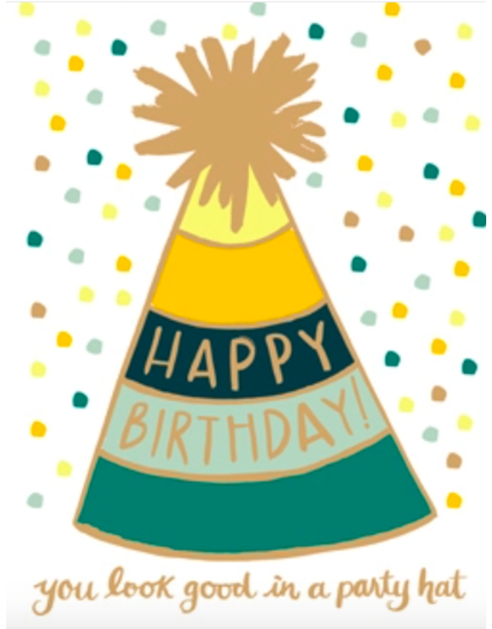 9th Letterpress Golden Party Hat Card