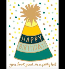 9th Letterpress Golden Party Hat Card