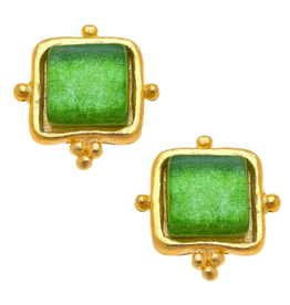 Susan Shaw Rectangle Stud Earrings in Emerald by Susan Shaw