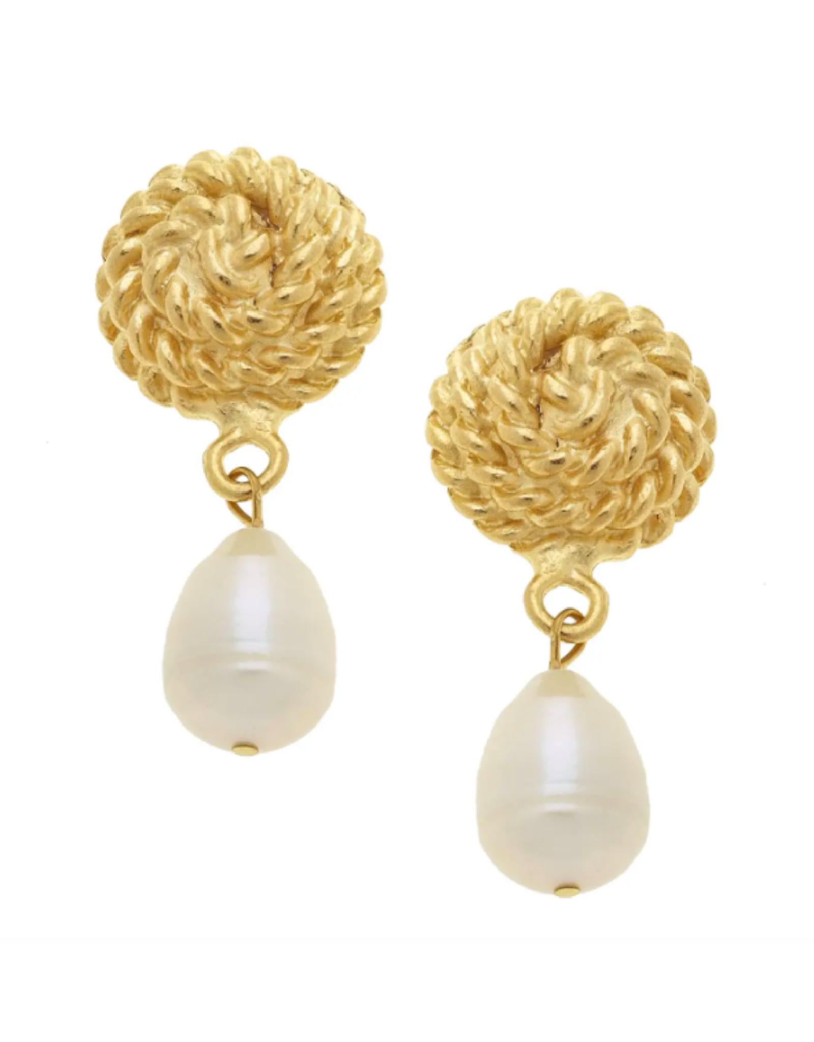 Susan Shaw Gold Knot and Pearl Drop Earrings by Susan Shaw