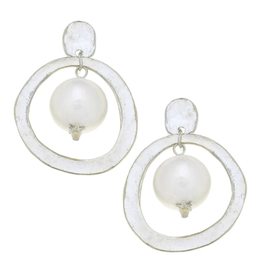 Susan Shaw Pearl Drop Earrings in Silver by Susan Shaw