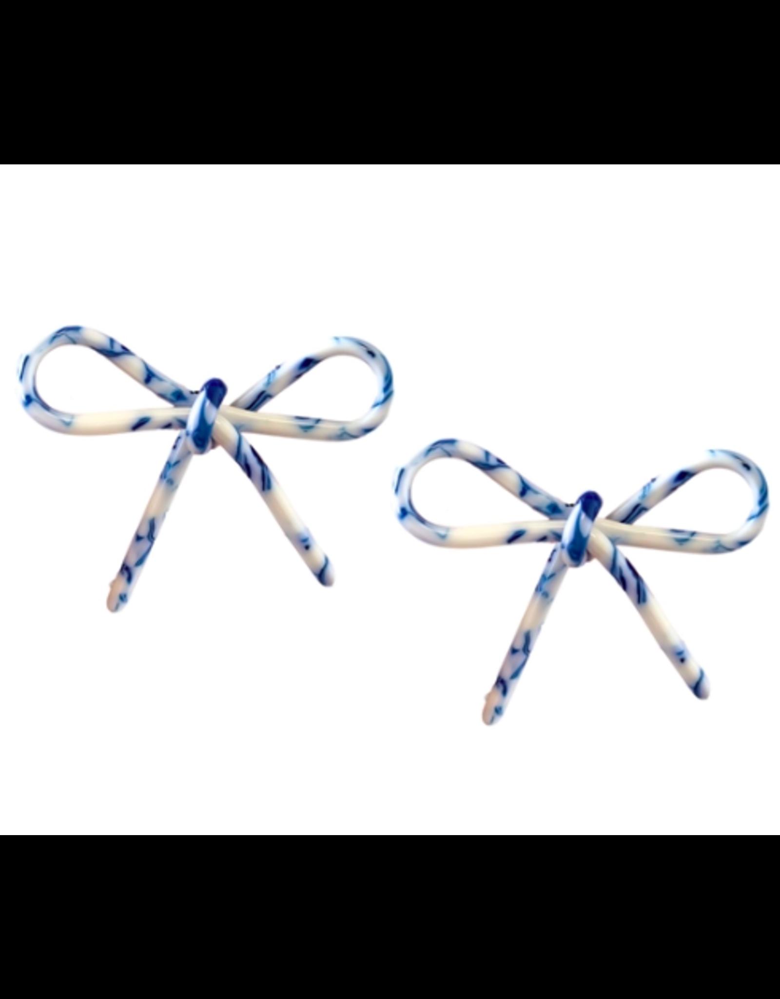 Tortoise Bows in Blue & White Earrings