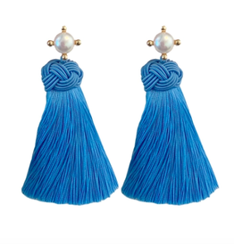 Cornflower Pearl Tassel Earrings