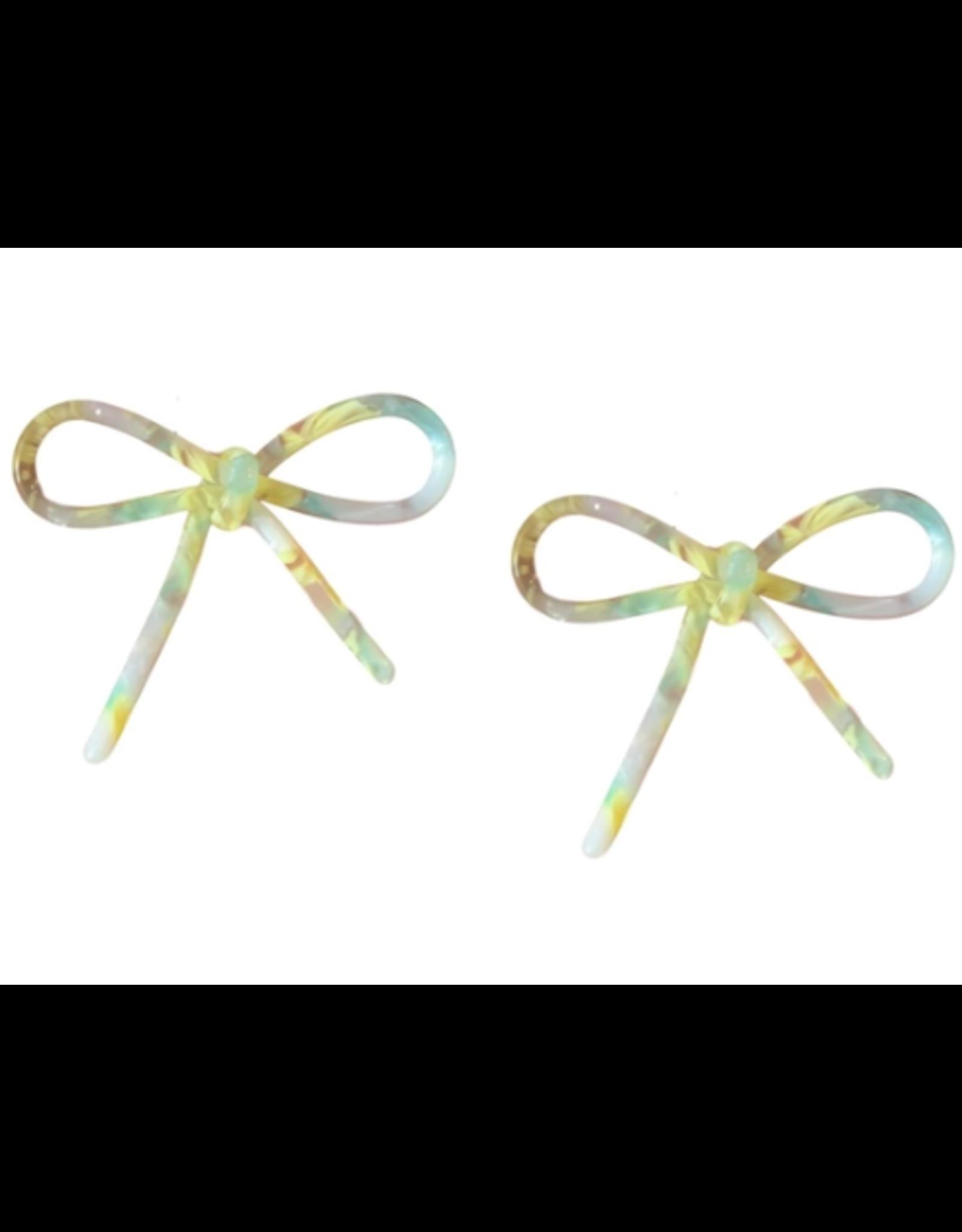 Tortoise Bows in Yellow Earrings