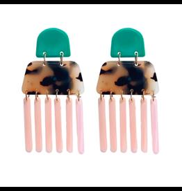 Teal and Tortoise Drop Earrings