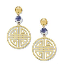 Susan Shaw Gold Medallion & Porcelain Earrings by Susan Shaw