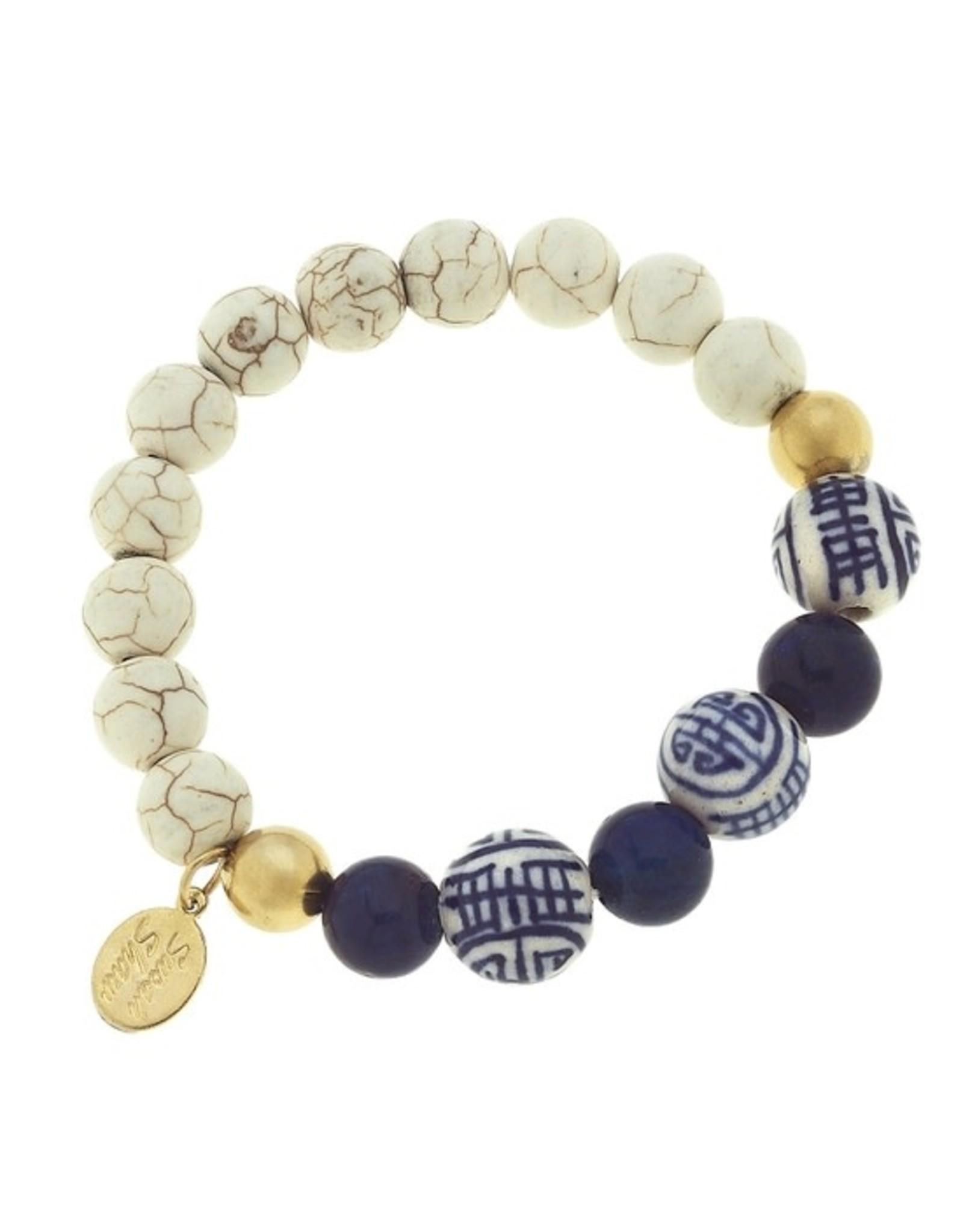 Susan Shaw White Turquoise, Lapis & Porcelain Stretch Bracelet by Susan Shaw