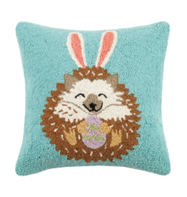 Peking Handicraft Hedgehog Bunny Hooked Pillow
