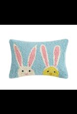 Peking Handicraft Bunny Duo Hooked Pillow