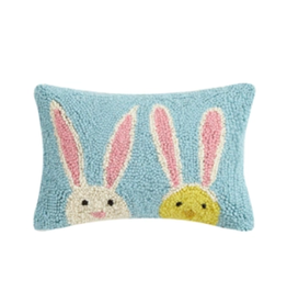 Peking Handicraft Bunny Duo Hooked Pillow