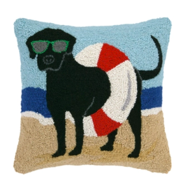 Peking Handicraft Black Lab in Tube Beach Hooked Pillow