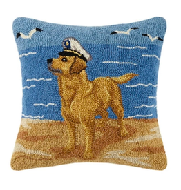 Peking Handicraft Golden Lab With Sailor Hat Hooked Pillow