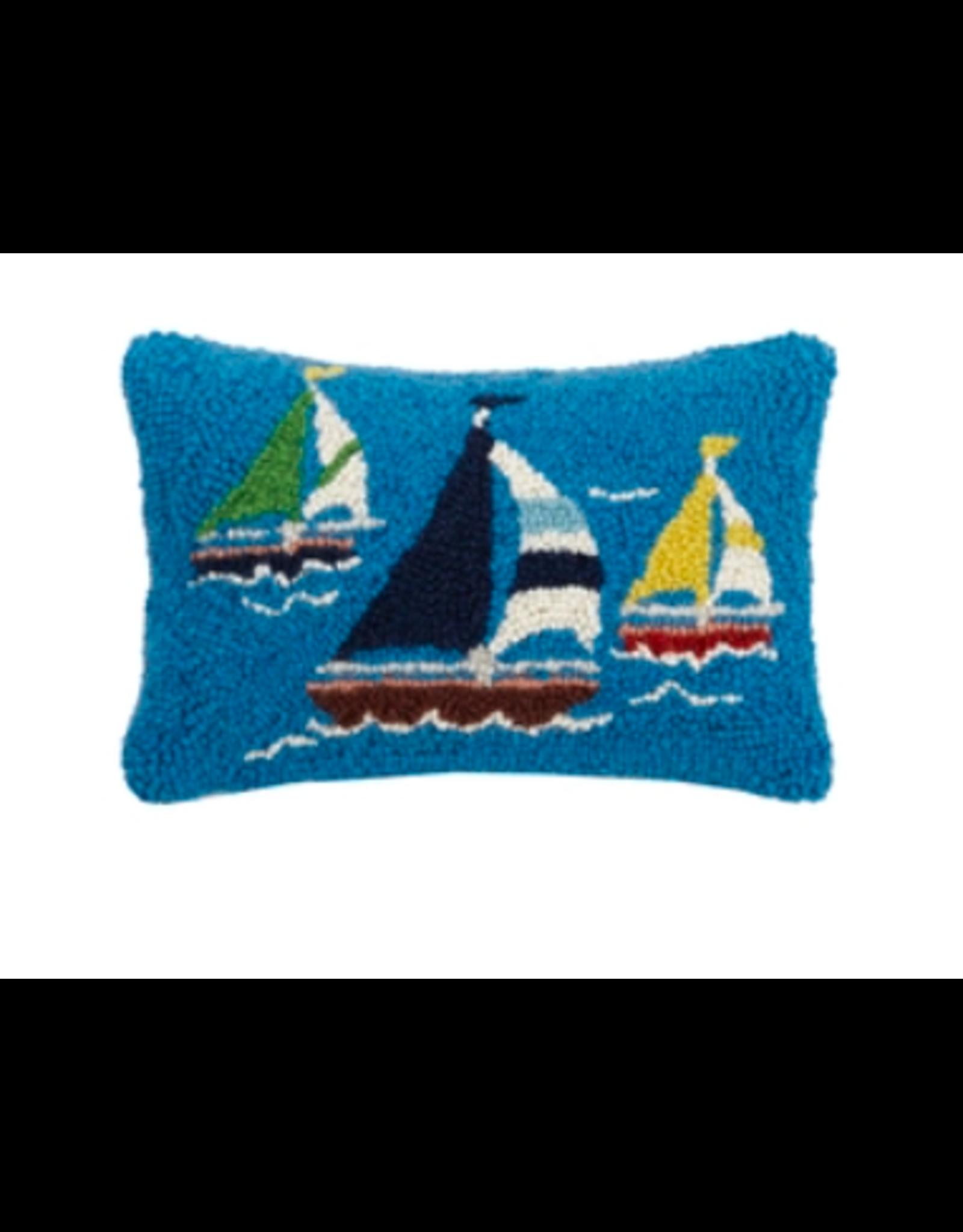 Peking Handicraft Sailboat Trio Hooked Pillow