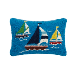 Peking Handicraft Sailboat Trio Hooked Pillow