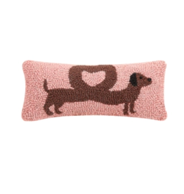 Peking Handicraft Heart Dachshund Hooked Pillow