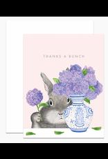 Dear Hancock Bunny Arranging Lilacs Card