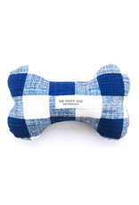 The Foggy Dog Navy Blue Gingham Dog Bone Squeaky Toy