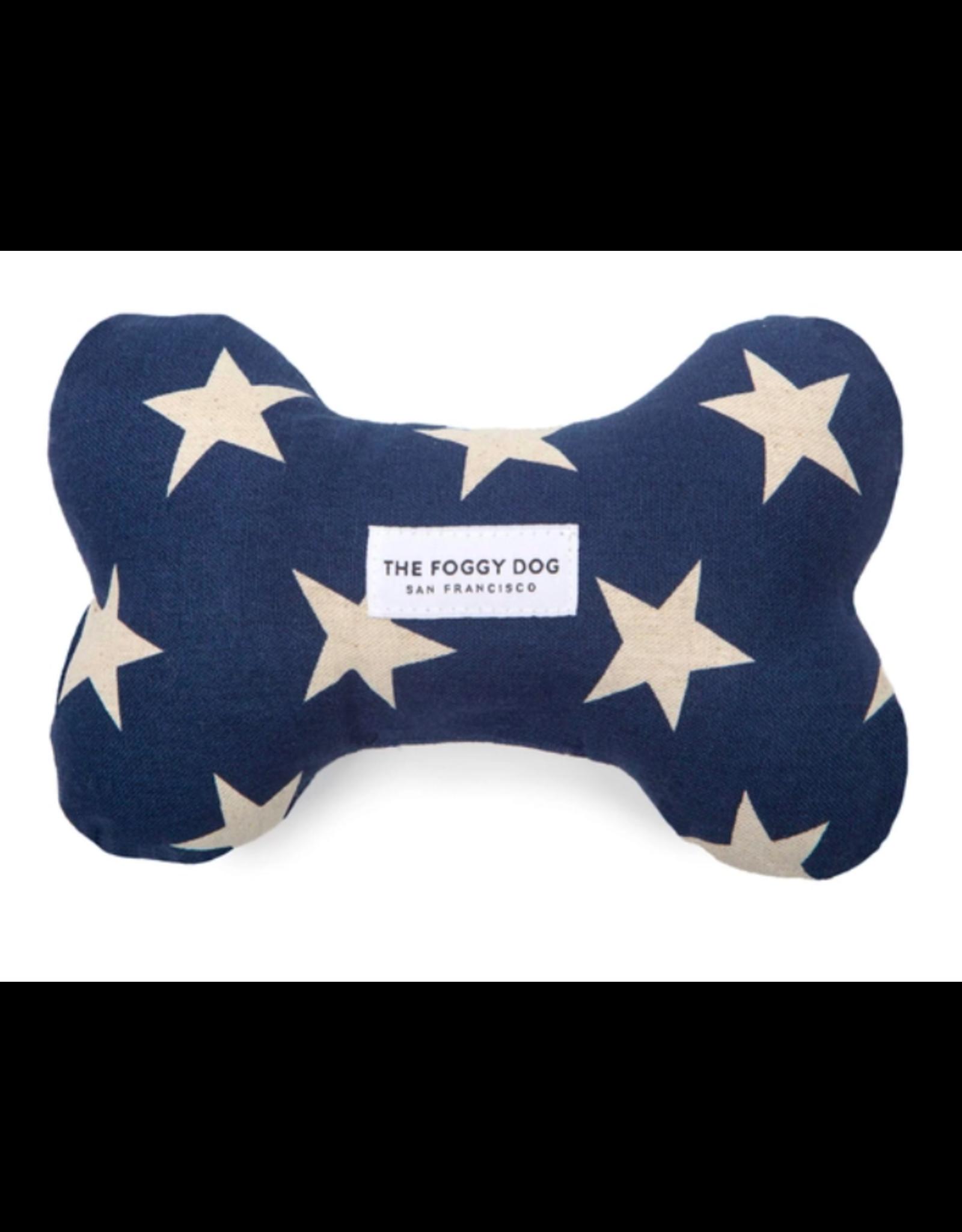 The Foggy Dog Navy Stars Dog Bone Squeaky Toy