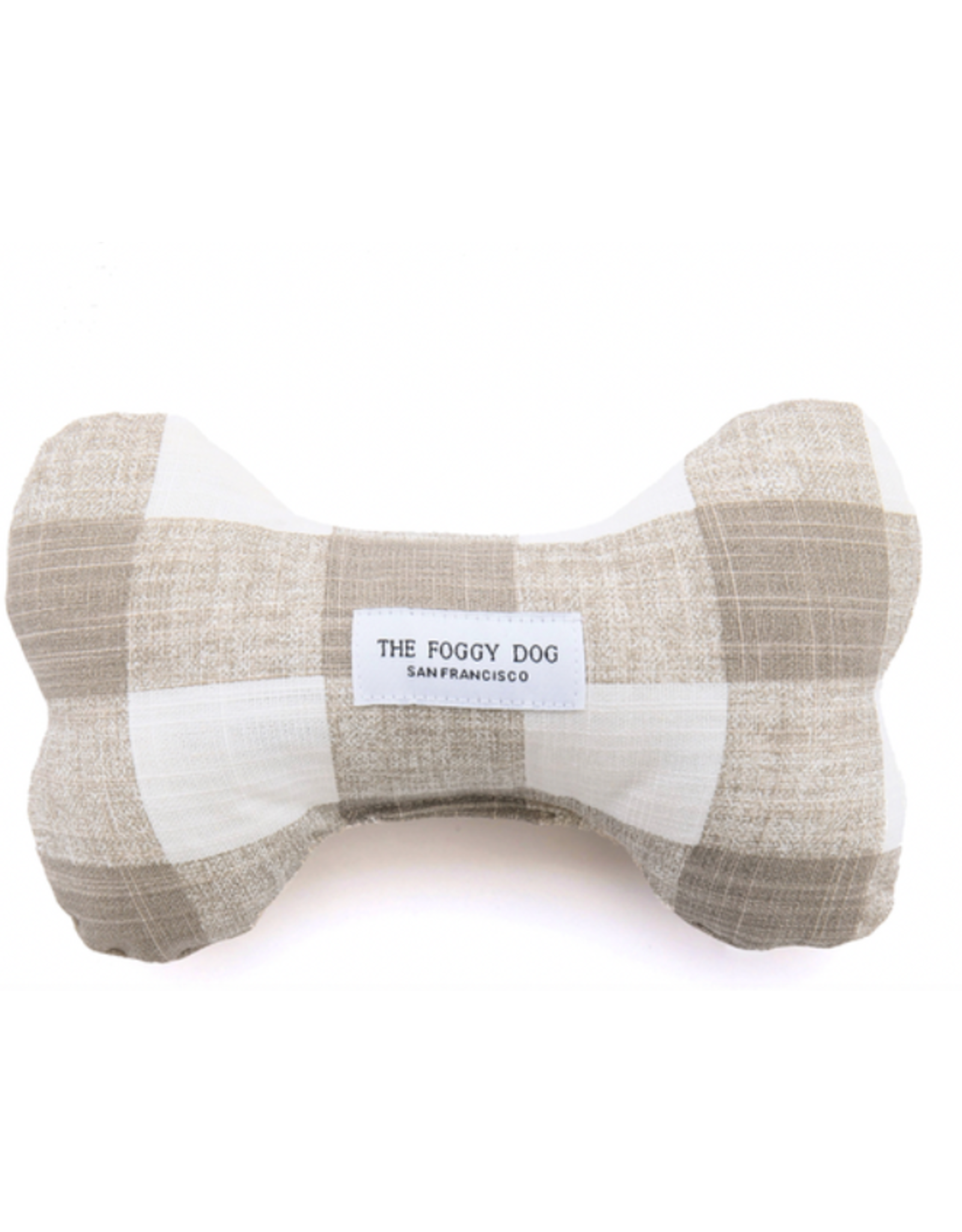 The Foggy Dog Warm Stone Gingham Dog Bone Squeaky Toy