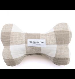 The Foggy Dog Warm Stone Gingham Dog Bone Squeaky Toy