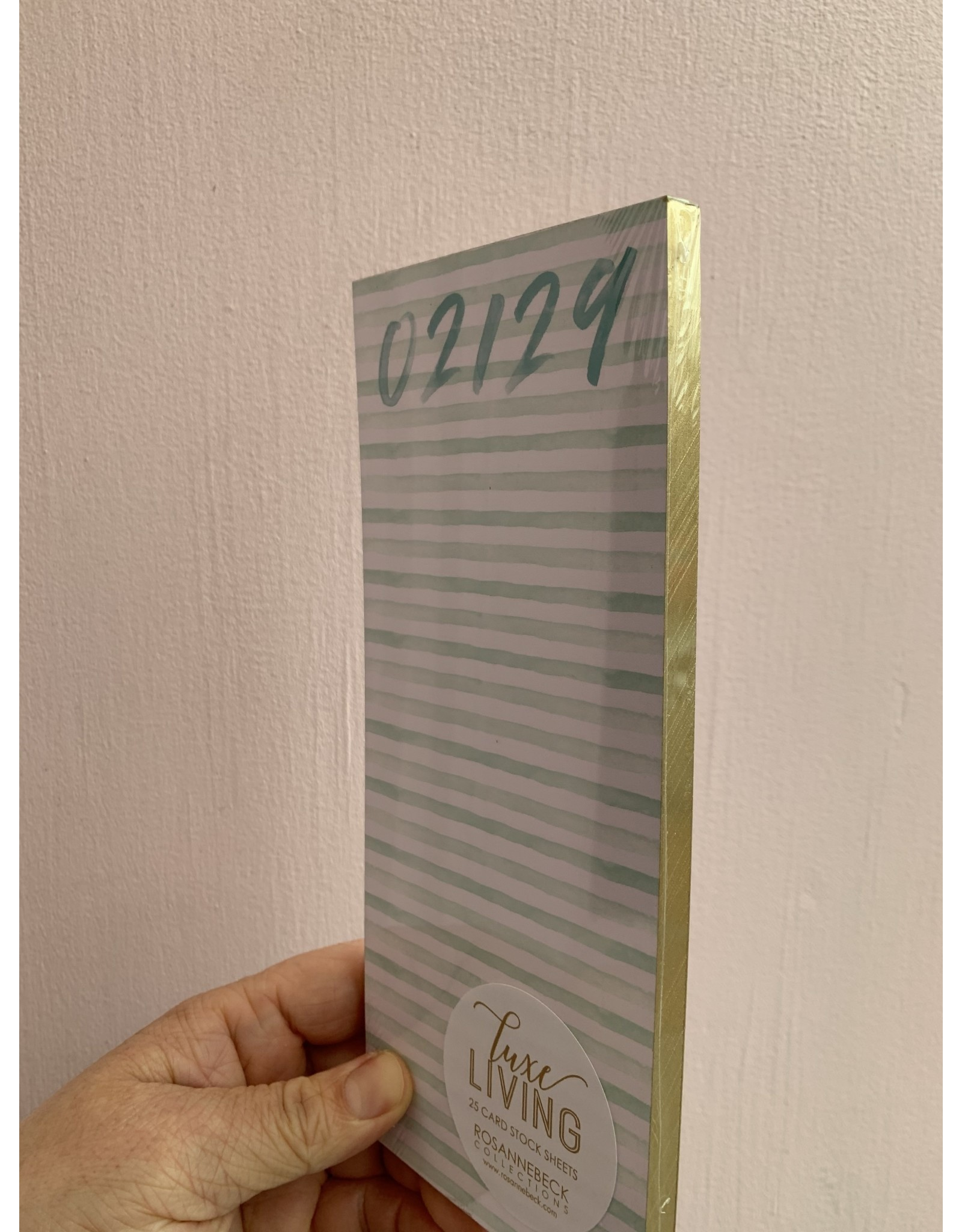 02129 Watercolor Stripe in Aqua Luxe Skinny Notepad