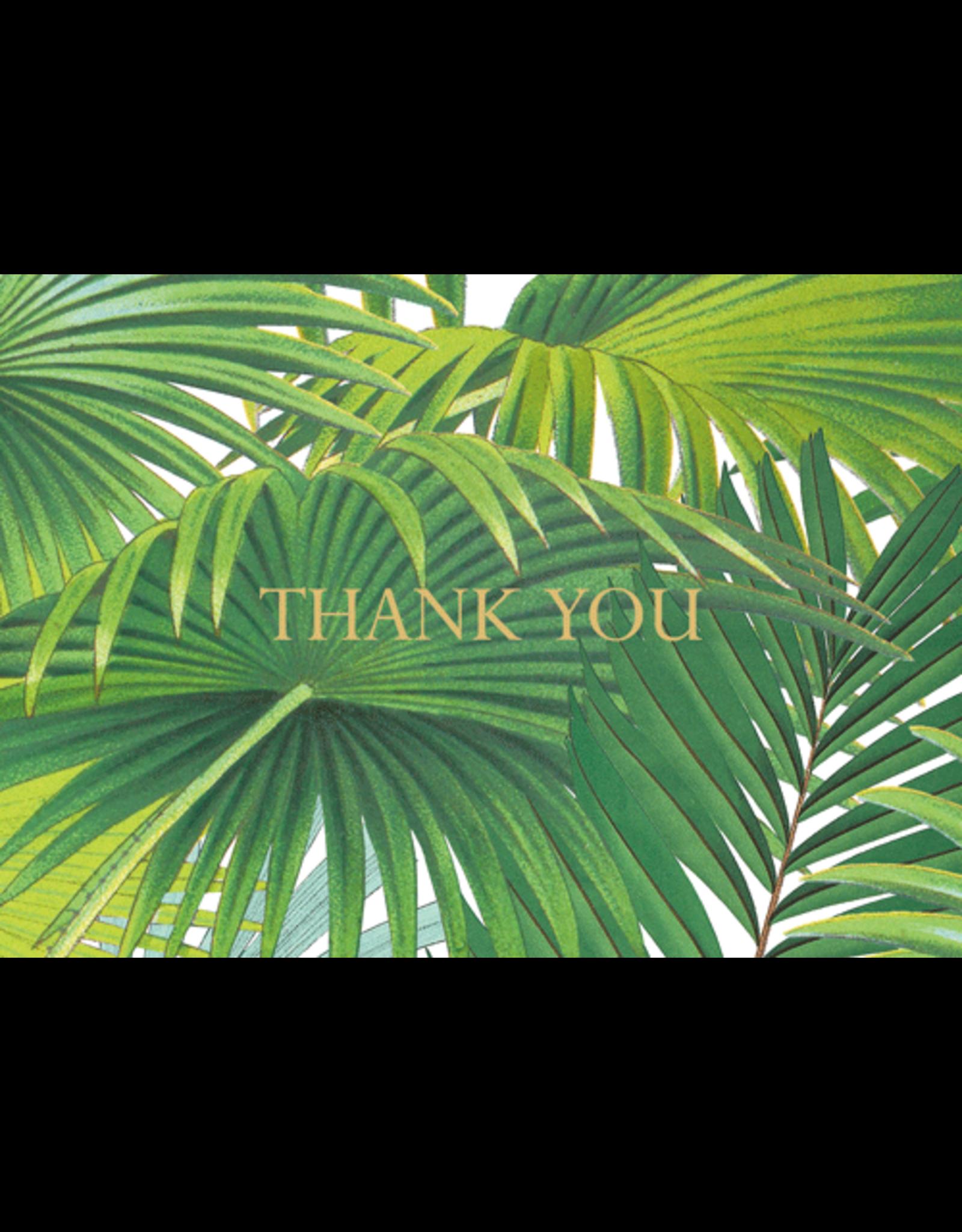 Caspari Palm Fronds Foil Thank You Note Box