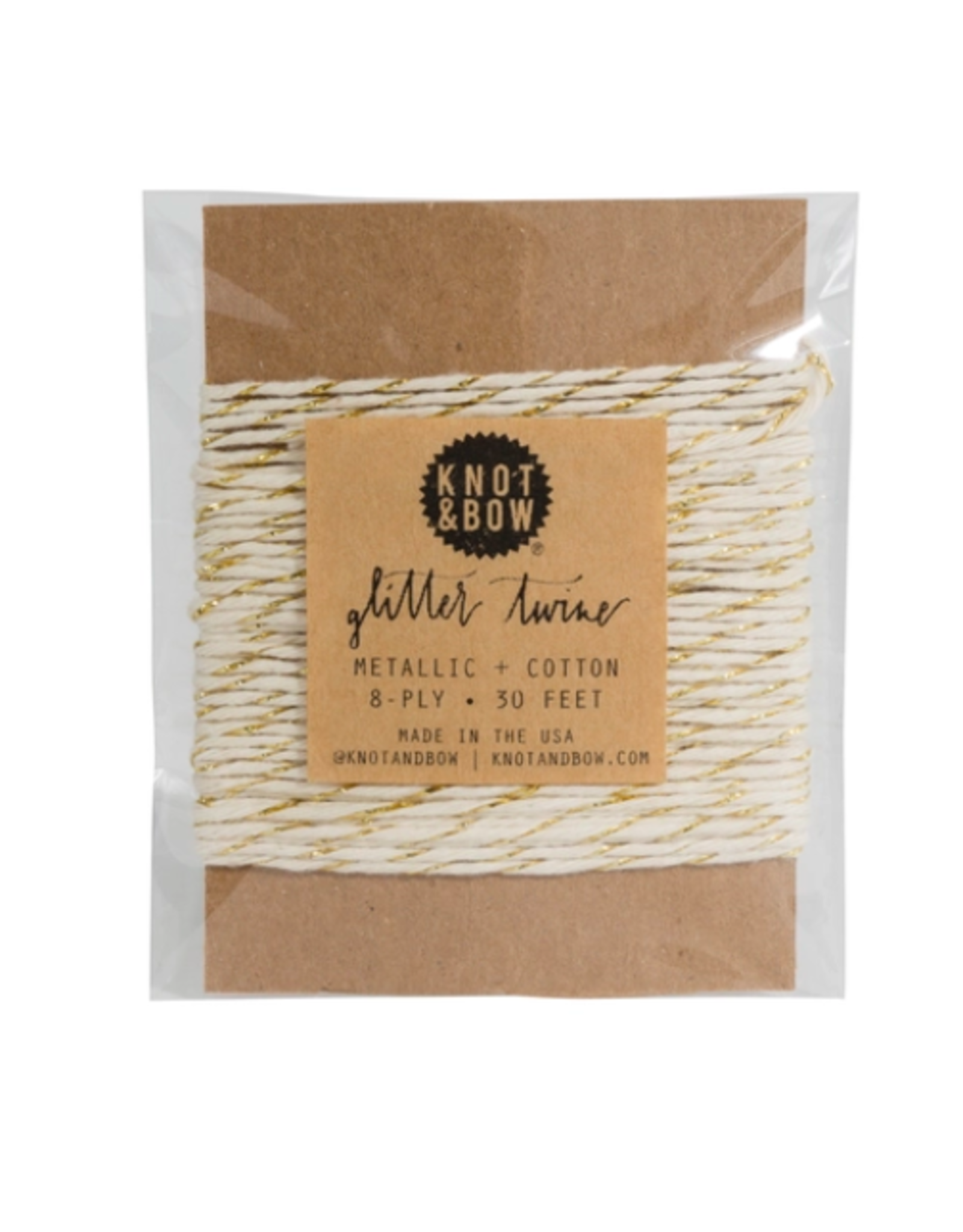 Knot & Bow Gold Natural Glitter Twine