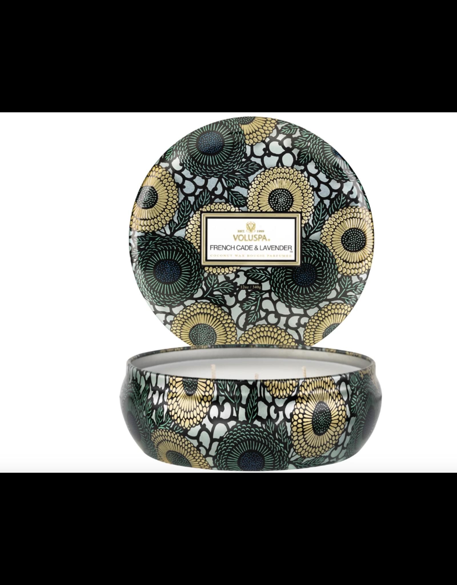 Voluspa French Cade & Lavender 3 Wick Candle in Decorative Tin
