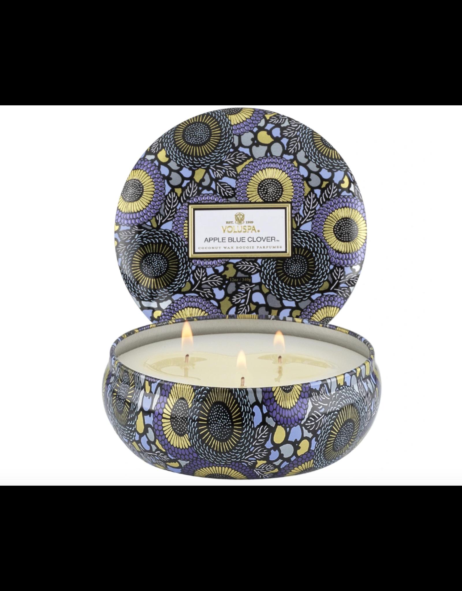 Voluspa Apple Blue Clover 3 Wick Candle in Decorative Tin