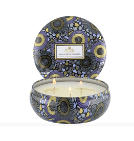 Voluspa Apple Blue Clover 3 Wick Candle in Decorative Tin