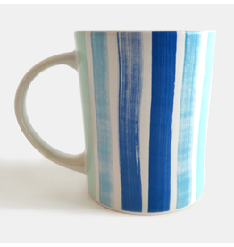 Paint & Petals Coffee Mug in Brushstroke Stripe