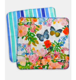 Paint & Petals Dish Cloth 2 Pack in Butterfly and Brushstroke Stripe