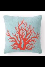 Peking Handicraft Red Coral Hooked Pillow