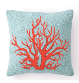 Peking Handicraft Red Coral Hooked Pillow