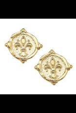 Susan Shaw Fleur de Lis Intaglio in Gold Studs by Susan Shaw