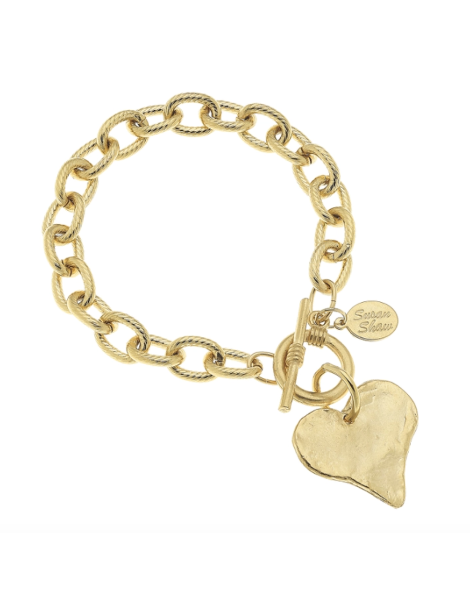 Susan Shaw Gold Bracelet with Heart Charm by Susan Shaw